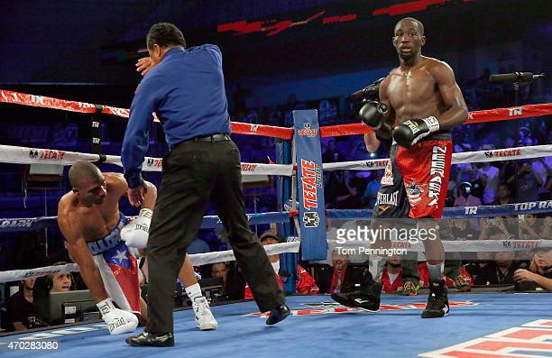 Referee Rafeal Ramos ends the bout Thomas Dulorme of Puerto Rico was knocked to the ground by Terence Crawford in the sixth round in their WBO Jr...