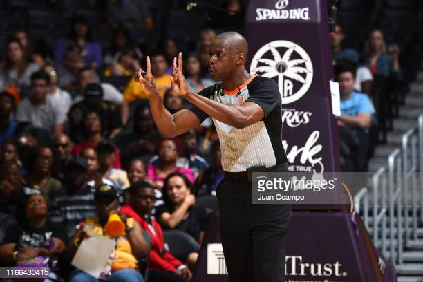 Referee Randy Richardson makes a call during the game between the Seattle Storm and the Los Angeles Sparks on September 5, 2019 at the Staples Center...