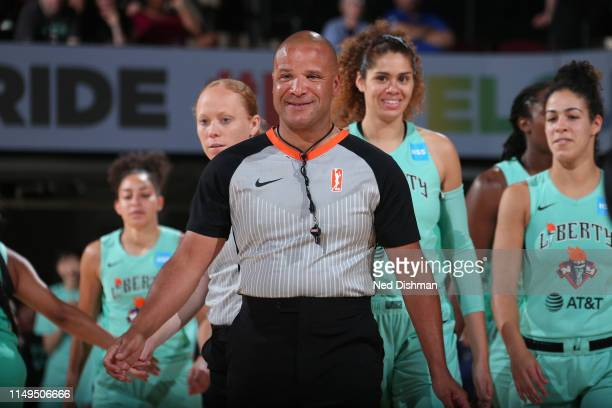 Referee Randy Richardson smiles during a game between the Las Vegas Aces and the New York Liberty on June 9 2019 at the Westchester County Center in...