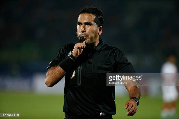 Referee Raul Orozco blows the whistle during the 2015 Copa America Chile Group C match between Peru and Venezuela at Elías Figueroa Brander Stadium...