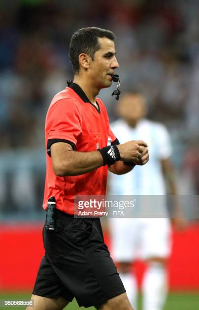 Referee Ravshan Irmatov looks on during the 2018 FIFA World Cup Russia group D match between Argentina and Croatia at Nizhny NovgorodStadium on June...