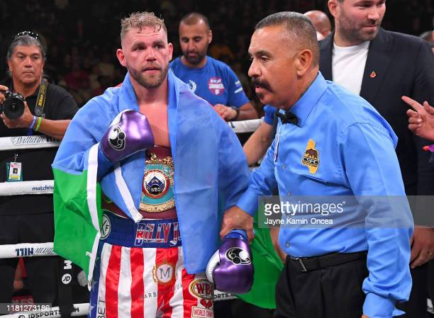 Referee Ray Corona in the ring with Billy Joe Saunders after he defeated Marceleo Coceres in their WBO World SuperMiddleweight Championship fight at...