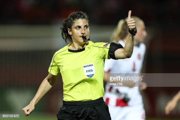 Referee Reim Hussein during the UEFA Women's Euro 2017 Group A match between Netherlands and Denmark at Sparta Stadion on July 20 2017 in Rotterdam...