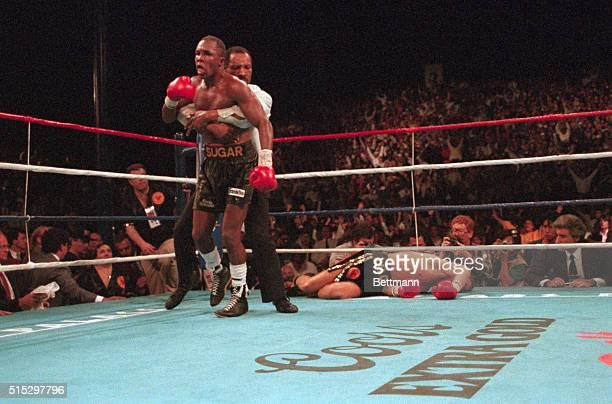 Referee Richard Steele restrains Sugar Ray Leonard in the ninth round following his knockdown of Donny Lalonde. Sugar Ray defeated Lalonde by KO in...