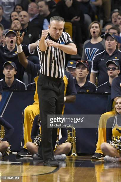 Referee Rob Groover call a foul during the 2018 NCAA Men's Basketball Tournament East Regional abetween the Villanova Wildcats and the West Virginia...