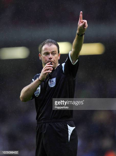 Referee Rob Styles in action during the Barclays Premier League match between Liverpool and Chelsea at Anfield in Liverpool on August 19 2007 The...