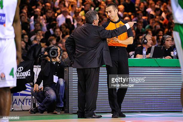 Referee Robert Lottermoser in action during the 20132014 Turkish Airlines Euroleague Regular Season Date 8 game between JSF Nanterre v FC Barcelona...