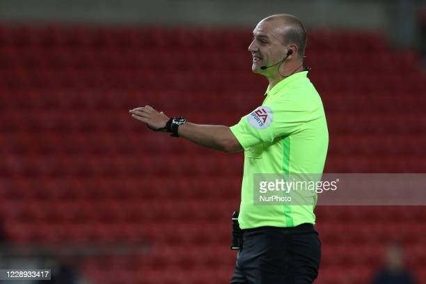 Referee Robert Madley during the EFL Trophy match between Sunderland and Carlisle United at the Stadium Of Light, Sunderland, England on 6th October...