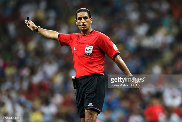 Referee Roberto Garcia gestures during the FIFA U20 World Cup Final match between France and Uruguay at Ali Sami Yen Arena on July 13 2013 in...