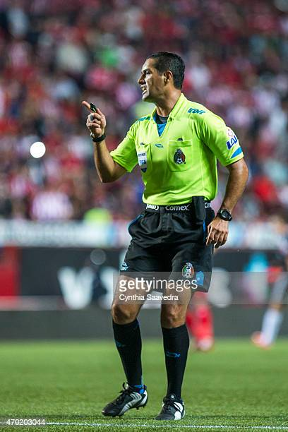 Referee Roberto Garcia in action during a match between Tijuana and Chivas as part of 14th round Clausura 2015 Liga MX at Caliente Stadium on April...
