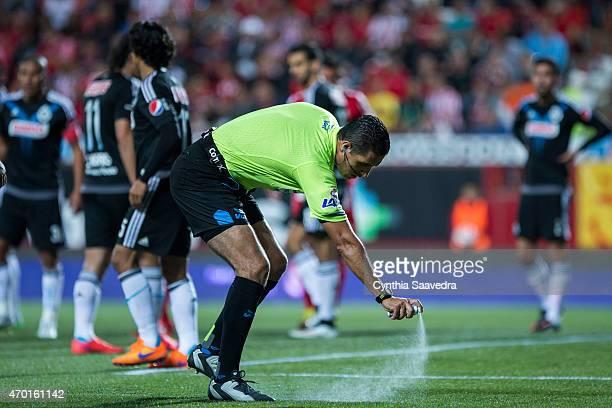 Referee Roberto Garcia sprays the grass during a match between Tijuana and Chivas as part of 14th round Clausura 2015 Liga MX at Caliente Stadium on...