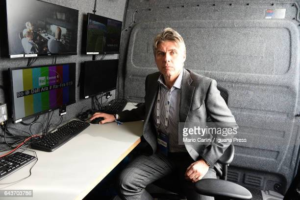 Referee Roberto Rosetti as checking the VAR system on the TV van before the beginning if the international friendly match between Italy U19 and...