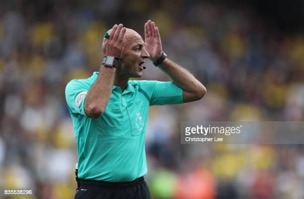 Referee Roger East during the Premier League match between AFC Bournemouth and Watford at Vitality Stadium on August 19 2017 in Bournemouth England