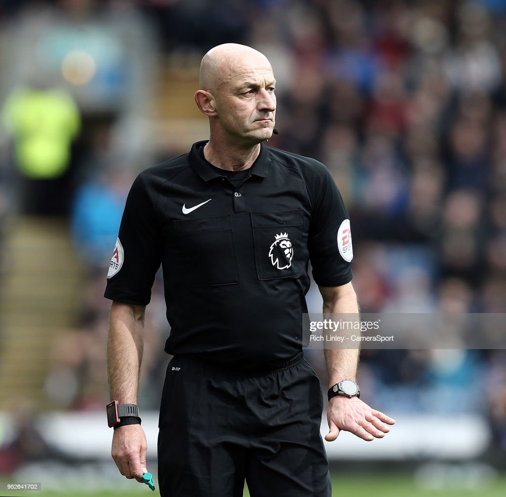 Referee Roger East during the Premier League match between Burnley and Brighton and Hove Albion at Turf Moor on April 28, 2018 in Burnley, England.