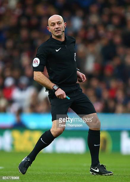 Referee Roger East during the Premier League match between Stoke City and AFC Bournemouth at Bet365 Stadium on November 19 2016 in Stoke on Trent...