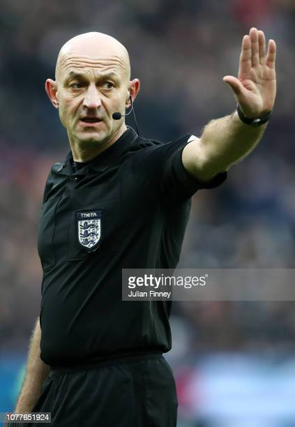 Referee Roger East looks on during the FA Cup Third Round match between West Ham United and Birmingham City at The London Stadium on January 5 2019...