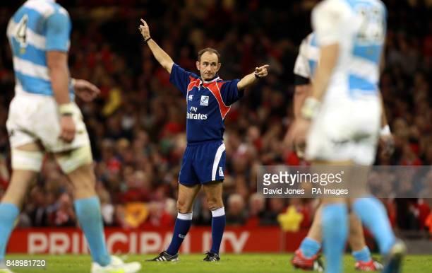 Referee Romain Poite during the Dove Men Series match at the Millennium Stadium Cardiff