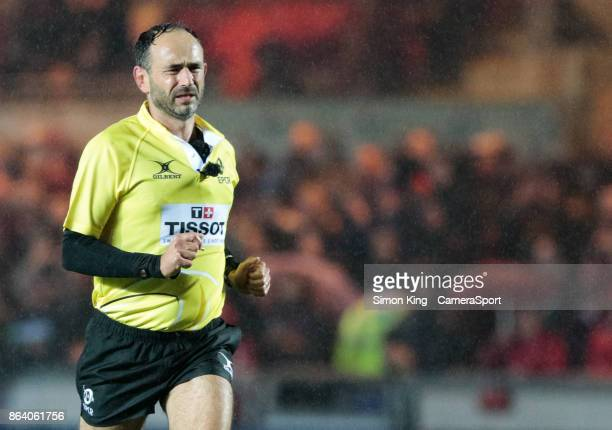 Referee Romain Poite during the European Rugby Champions Cup match between Scarlets and Bath Rugby at Parc y Scarlets on October 20 2017 in Llanelli...