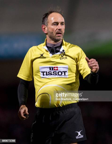 Referee Romain Poite during the European Rugby Champions Cup match between Exeter Chiefs and Leinster Rugby at Sandy Park on December 10 2017 in...