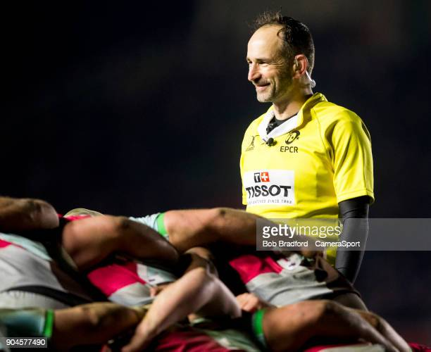 Referee Romain Poite during the European Rugby Champions Cup match between Harlequins and Wasps at Twickenham Stoop on January 13 2018 in London...