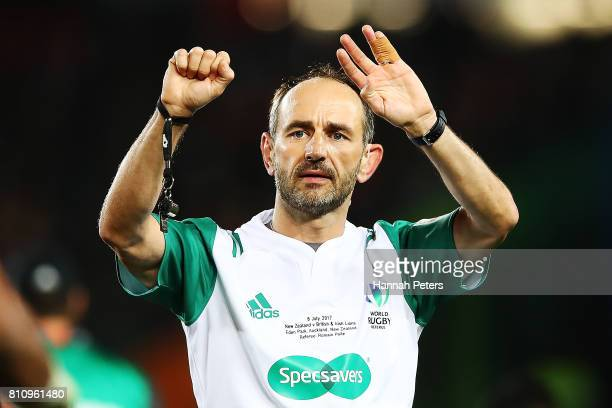 Referee Romain Poite makes a call during the Test match between the New Zealand All Blacks and the British Irish Lions at Eden Park on July 8 2017 in...