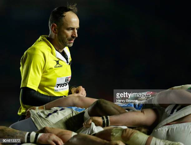Referee Roman Poite during the European Rugby Champions Cup match between Harlequins and Wasps at Twickenham Stoop on January 13 2018 in London...