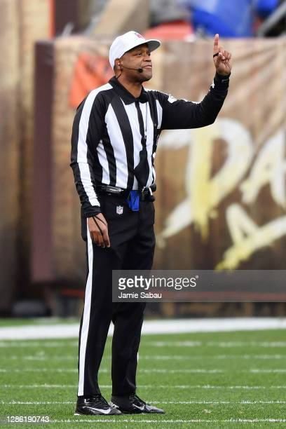 Referee Ronald Torbert signals a first down during a NFL game between the Cleveland Browns and the Houston Texans at FirstEnergy Stadium on November...