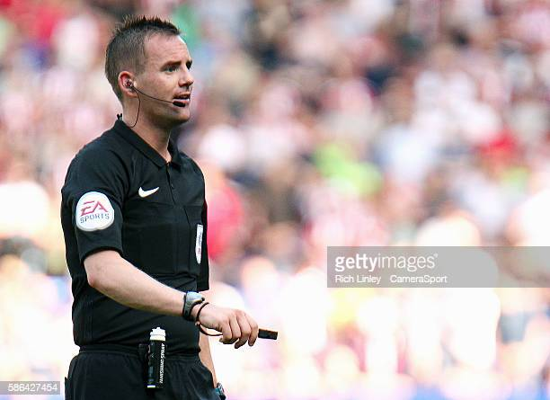 Referee Ross Joyce during the EFL Sky Bet League Two match between Bolton Wanderers and Sheffield United at the Macron Stadium on August 06 in Bolton...
