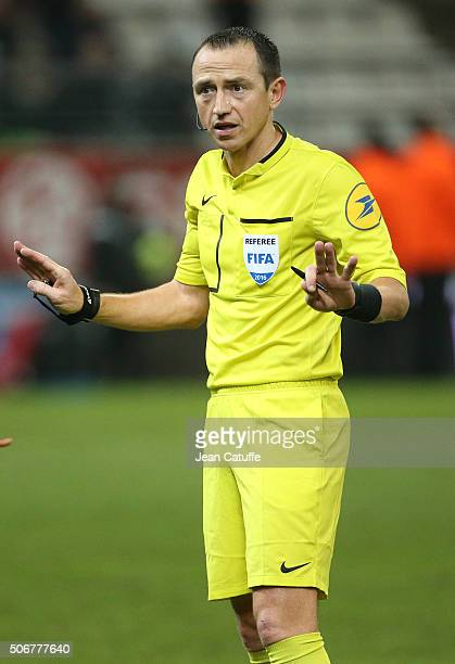 Referee Ruddy Buquet looks on during the French Ligue 1 match between Stade de Reims and AS SaintEtienne on January 24 2016 in Reims France