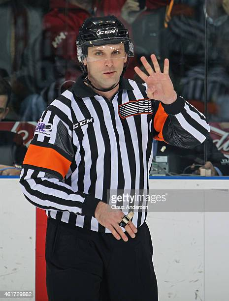 Referee Ryan Hutchinson make a call during play between the Sarnia Sting and the London Knights in an OHL game at Budweiser Gardens on January 17...