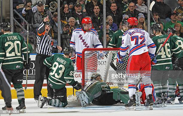 Referee Ryan Hutchison signals no goal between the Kitchener Rangers and the London Knights during Game One of the OHL Western Conference...