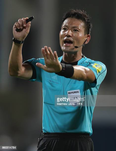Referee Ryuji Sato in action during the FIFA U17 World Cup India 2017 group B match between Turkey and Paraguay at Dr DY Patil Cricket Stadium on...