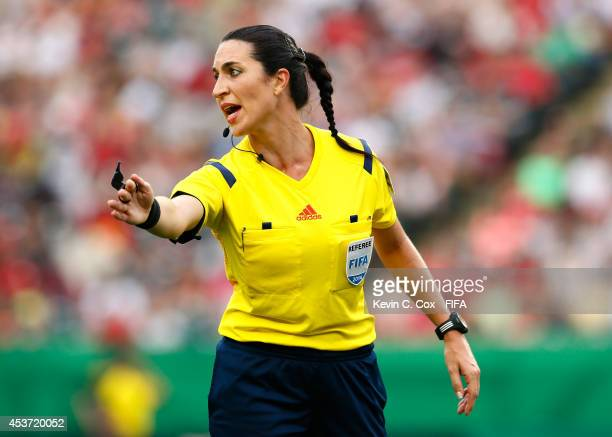 Referee Salome Di Iorio of Argentina in action during the FIFA U20 Women's World Cup Canada 2014 Quarter Final match between Germany and Canada at...