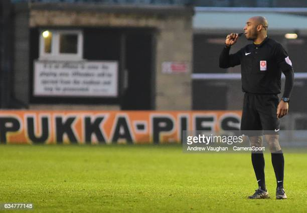 Referee Sam Allison during the Vanarama National League match between Lincoln City and Woking at Sincil Bank Stadium on February 11 2017 in Lincoln...