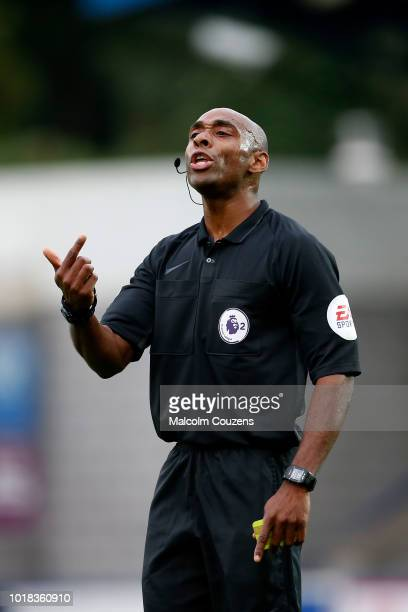 Referee Samuel Allison during the Premier League 2 match between Wolverhampton Wanderers and West Bromwich Albion at New Bucks Head Stadium on August...