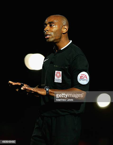 Referee Samuel Allison in action during the Barclays U21 Premier League match between Tottenham Hotspur U21 and Liverpool U21 at The Lamex Stadium on...
