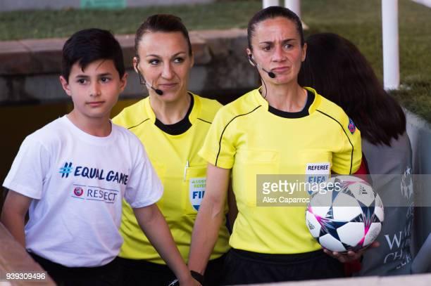 Referee Sandra Bastos looks on before the UEFA Women's Champions League Quarter Final 2nd Leg match between FC Barcelona Women and Olympique Lyon...