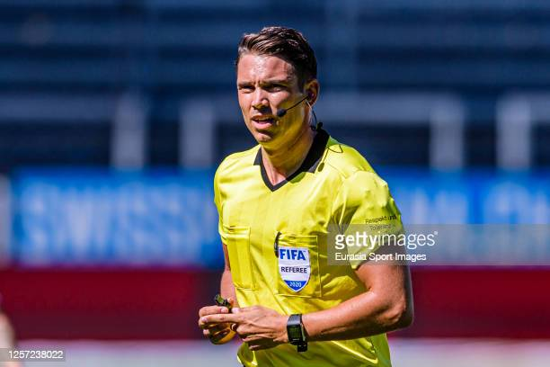 Referee Sandro Schärer runs in the field during the Swiss Raiffeisen Super League match between FC Luzern and Neuchatel Xamax FCS at the...