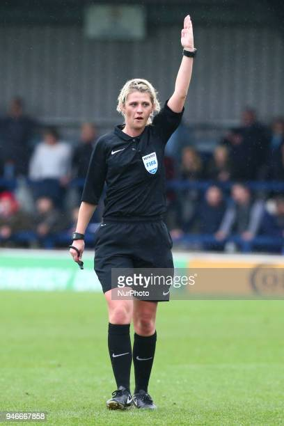 Referee Sarah Garratt during The SSE Women's FA Cup semifinal match between Chelsea Ladies and Manchester City Women at Kingsmeadow London England on...