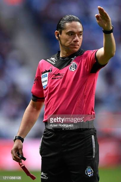 Referee Óscar Macías in aciton during the 9th round match between Monterrey and Atletico San Luis as part of the Torneo Clausura 2020 Liga MX at BBVA...