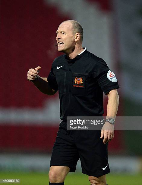 Referee Scott Duncan during the FA Cup Third Round match between Doncaster Rovers and Bristol City at Keepmoat Stadium on January 3 2015 in Doncaster...