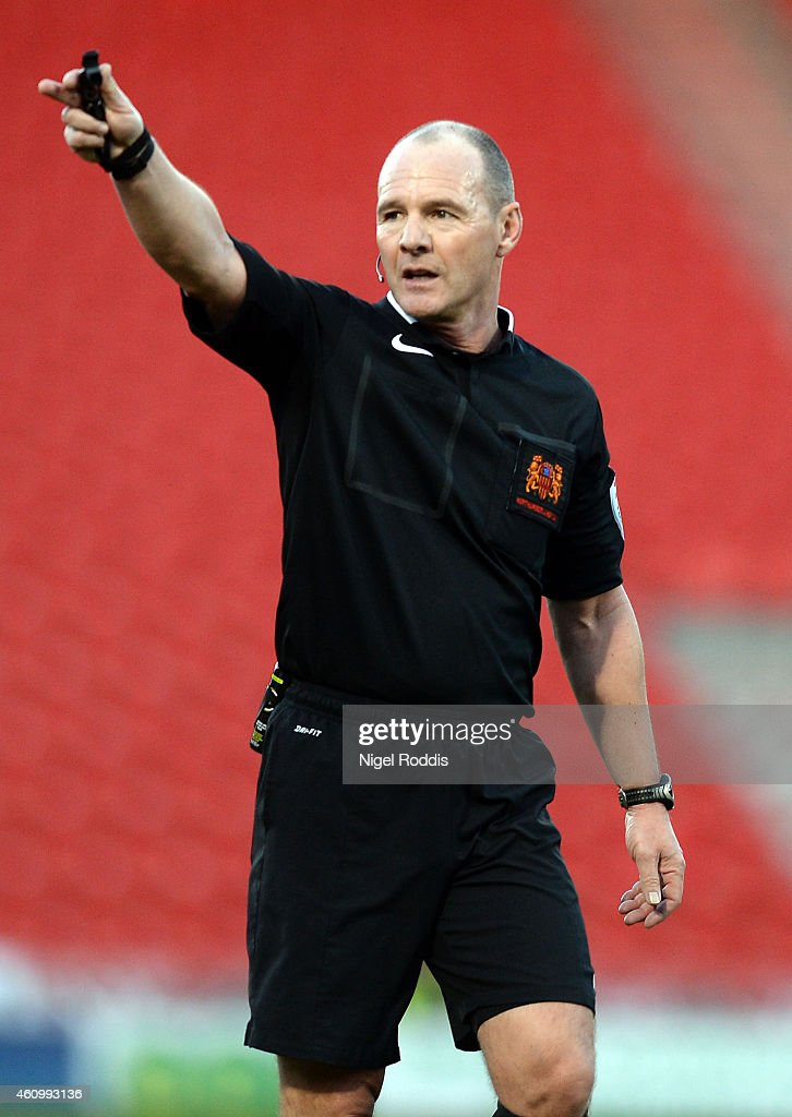Referee Scott Duncan during the FA Cup Third Round match between Doncaster Rovers and Bristol City at Keepmoat Stadium on January 3, 2015 in Doncaster, England.
