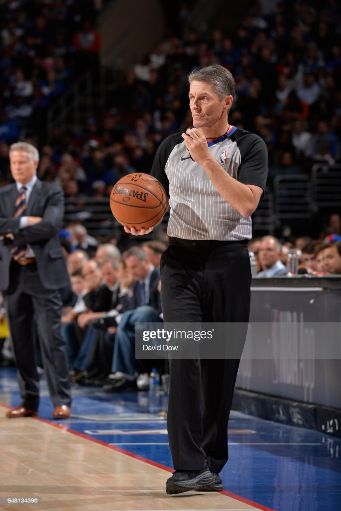 Referee, Scott Foster makes a call during Game Two of Round One of the 2018 NBA Playoffs between the Miami Heat game against the Philadelphia 76ers on April 16, 2018 at the Wells Fargo Center in Philadelphia, Pennsylvania.