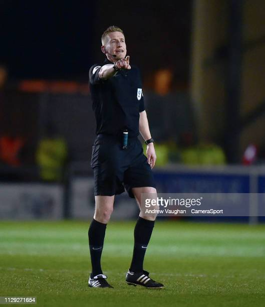 Referee Scott Oldham during the Sky Bet League Two match between Lincoln City and Yevoil Town at Sincil Bank Stadium on March 8 2019 in Lincoln...