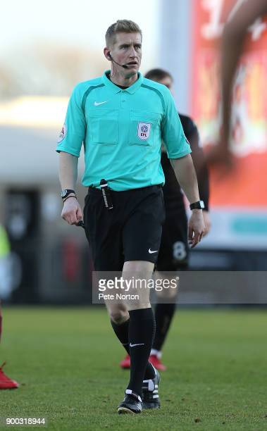 Referee Scott Oldham in action during the Sky Bet League One match between Northampton Town and Wigan Athletic at Sixfields on January 1 2018 in...