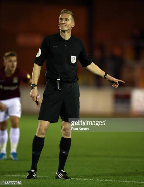 Referee Scott Oldham in action during the Sky Bet League Two match between Carlisle United and Northampton Town at Brunton Park on October 22 2019 in...