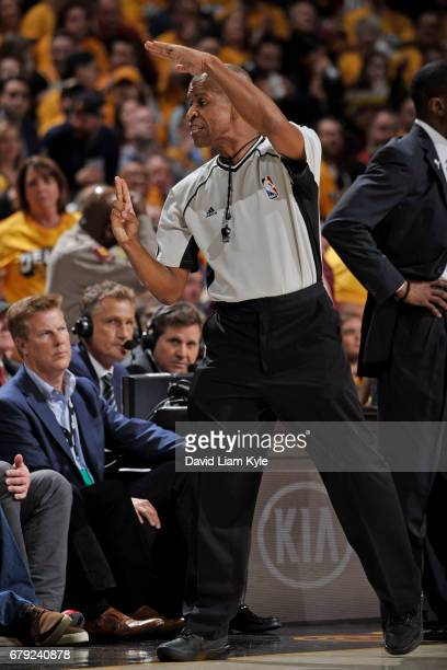 Referee, Sean Corbin signals for a technical foul during Game Two of the Eastern Conference Semifinals between the Toronto Raptors and the Cleveland...