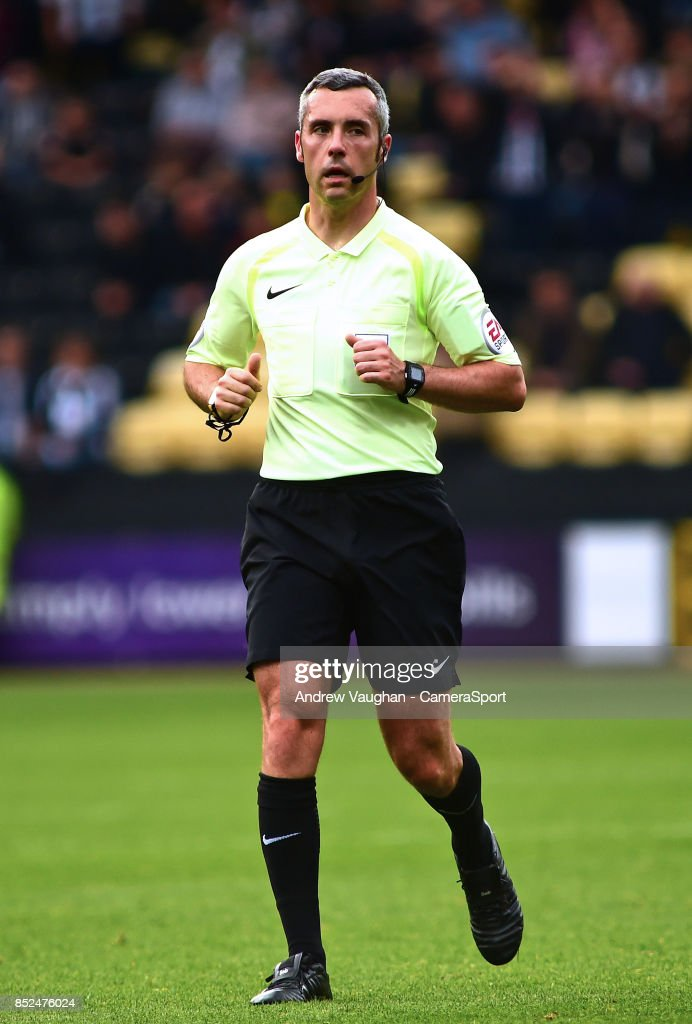 Referee Sebastian Stockbridge during the Sky Bet League Two match between Notts County and Lincoln City at Meadow Lane on September 23, 2017 in Nottingham, England.
