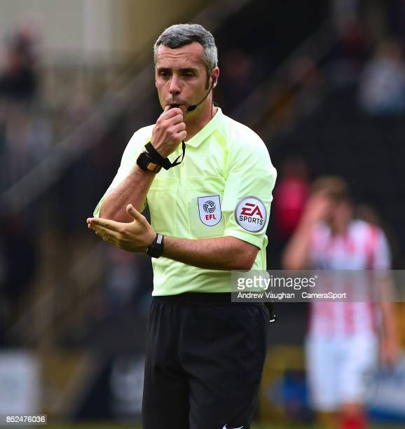 Referee Sebastian Stockbridge during the Sky Bet League Two match between Notts County and Lincoln City at Meadow Lane on September 23 2017 in...