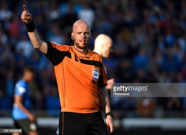 Referee Sebastien Delferiere Gestures During The Jupiler Pro League Playoff  Match Between Club Brugge And